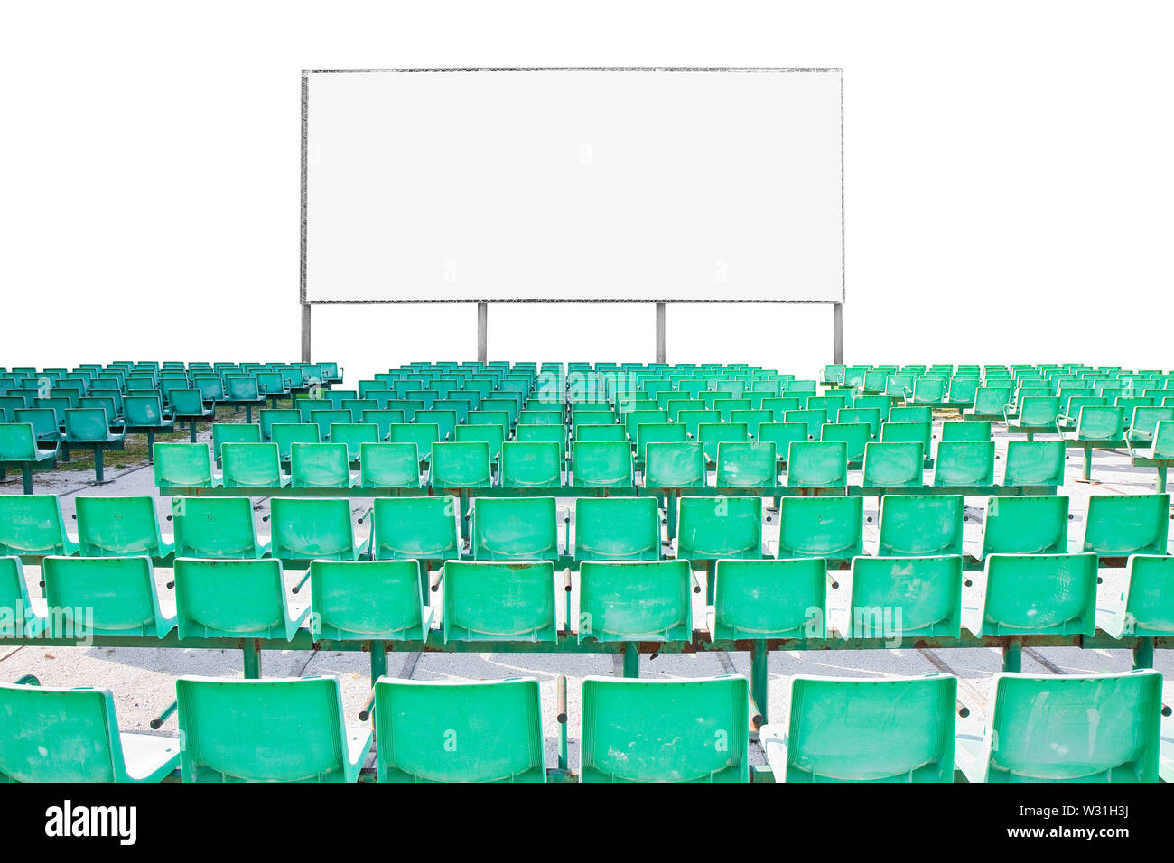 Outdoor cinema with chairs and white projection screen on white background for easy selection - Stock Image