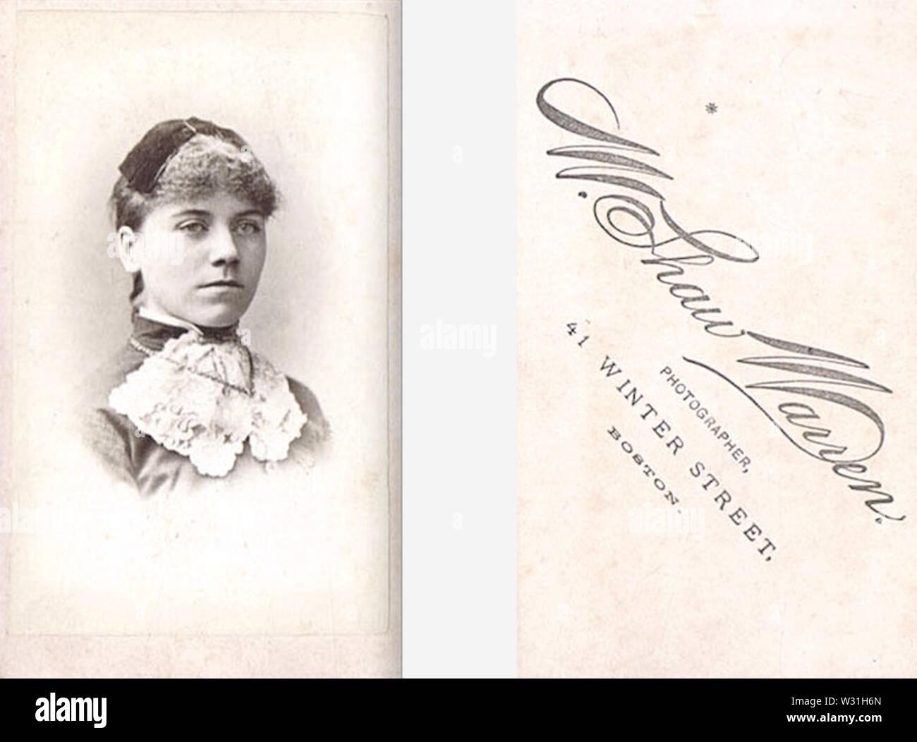 Portrait of woman by W Shaw Warren of 41 Winter Street in Boston USA - Stock Image
