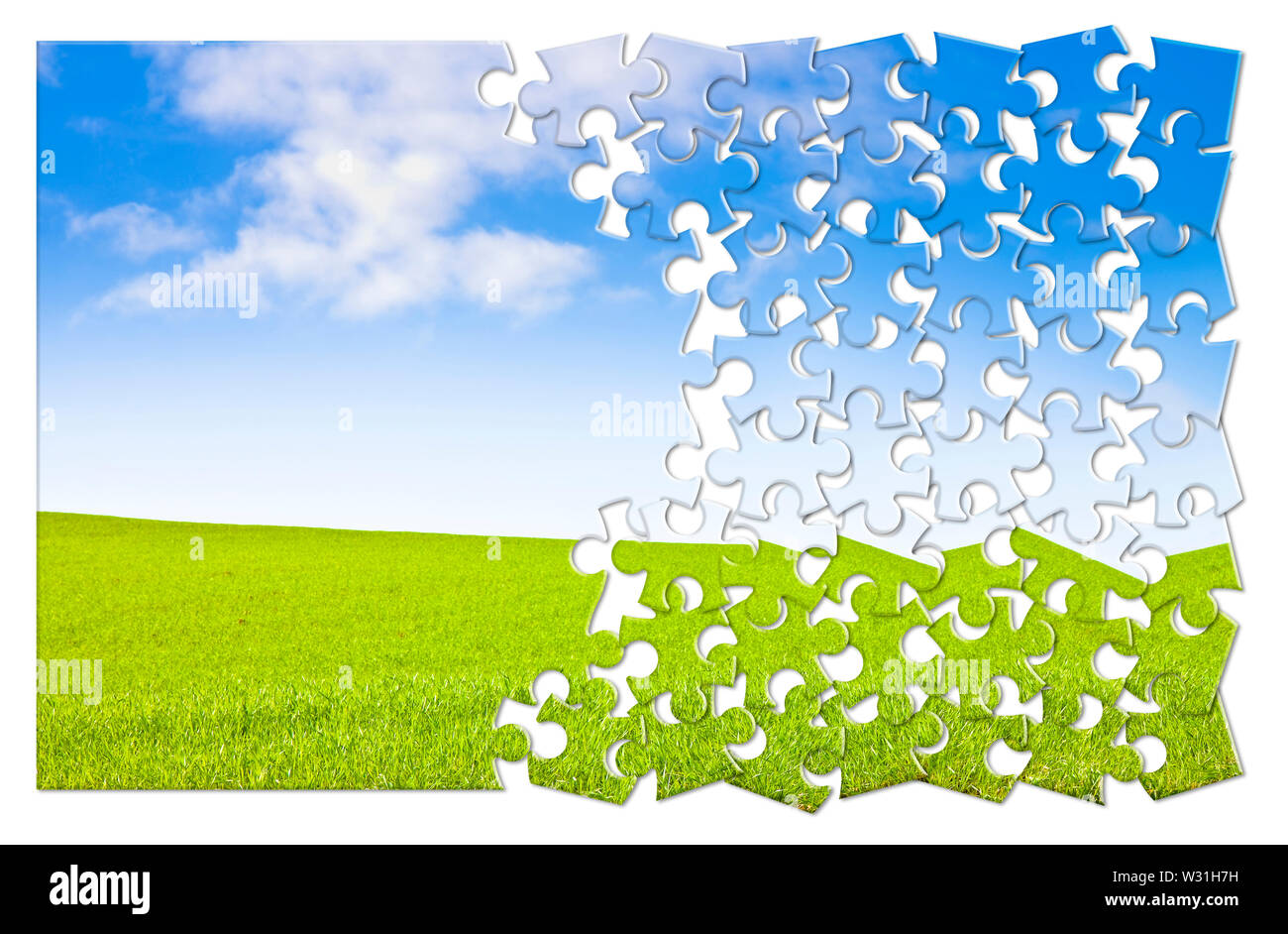 Build your serenity - concept image in puzzle shape - Stock Image