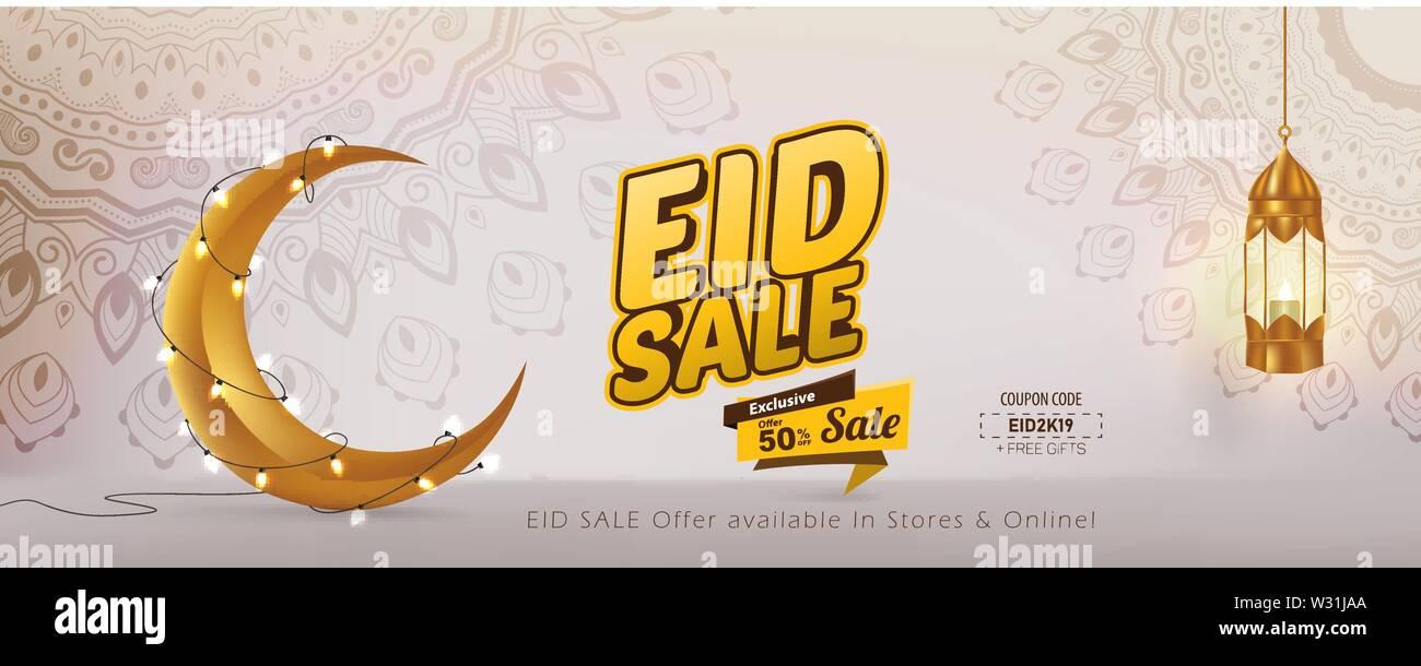 Eid Sale 50% Vector Template Design, Eid Mubarak banner Stock Vector