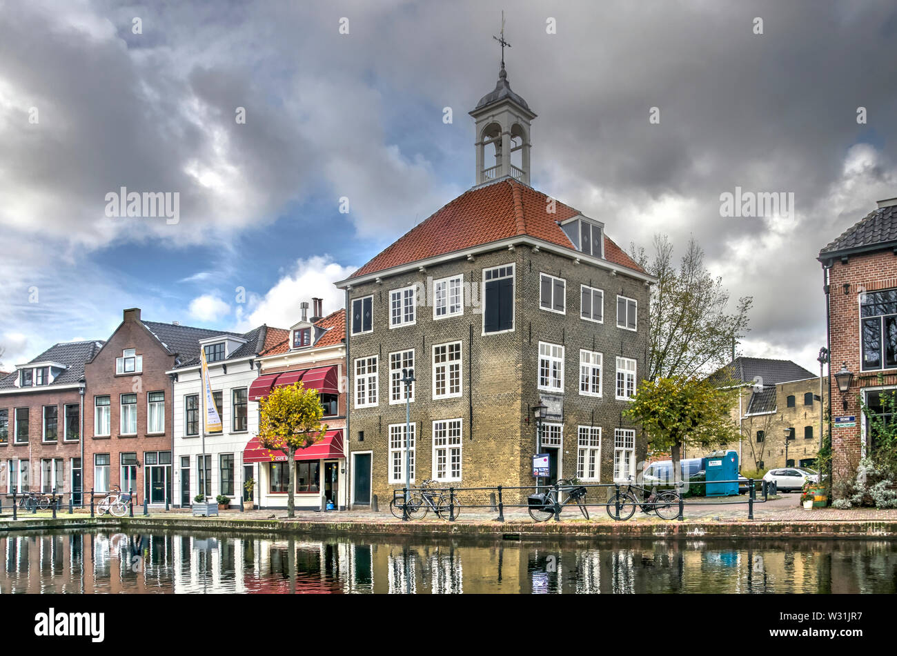 Schiedam, The Netherlands, November 11, 2017: the historic canal house of the guild of the bag carriers in the old center of town Stock Photo