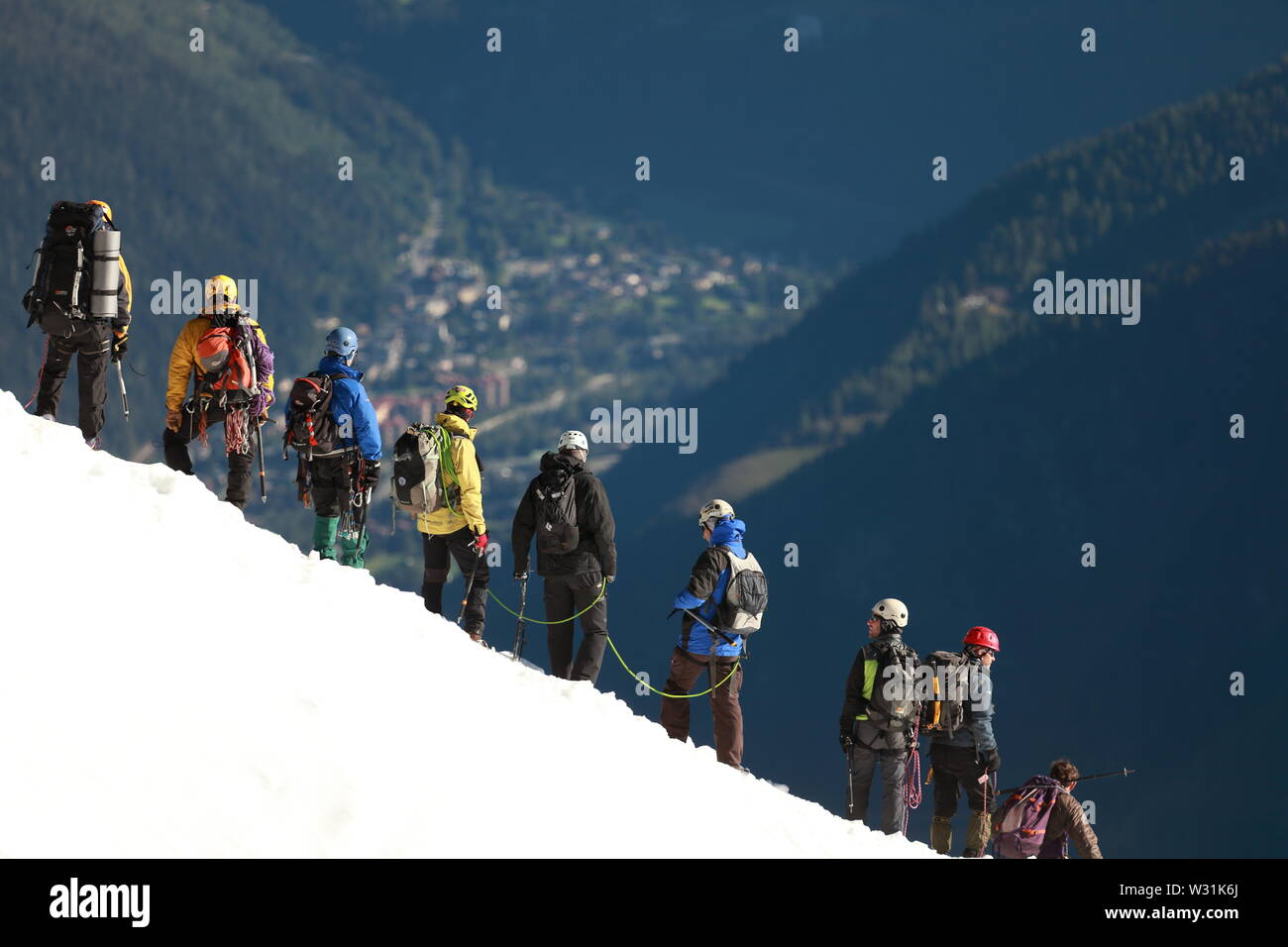 Tethered Mountaineers Aiguille du Midi - Stock Image