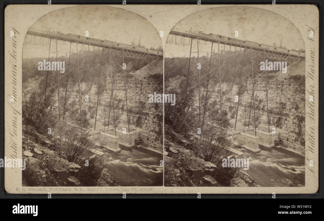 RR Bridge, Portage, NY - 840 ft long, 240 ft high, by Walker, L E, 1826-1916 - Stock Image