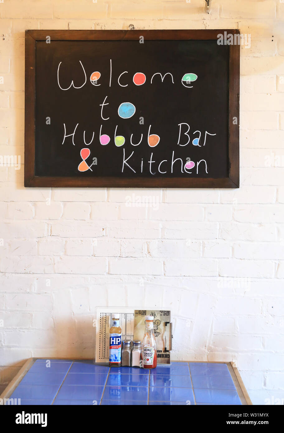 The trendy Hubbub Bar & Kitchen, occupying a former church, with independent theatre Space downstairs, on the Isle of Dogs, east London, UK - Stock Image