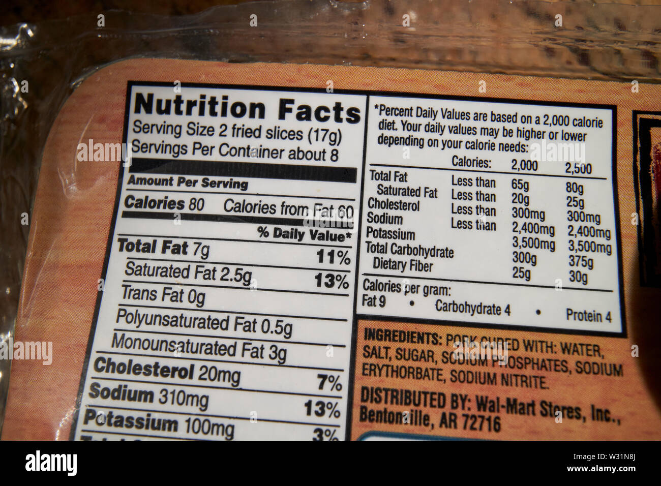 nutrition facts food labelling on american bacon USA United States of America - Stock Image