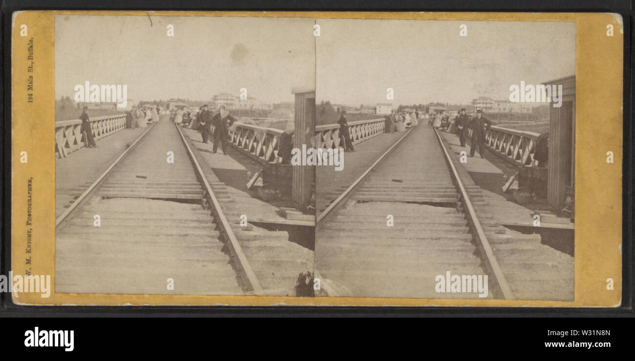 Railroad Bridge, Portage, NY, by Knight, W M, 1841-1881 - Stock Image