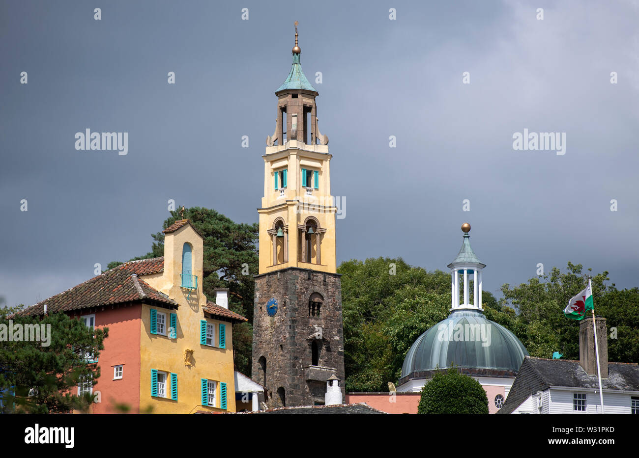 Portmeirion in North Wales, an Italianate model village built by its founder, architect Clough Williams-Ellis Stock Photo