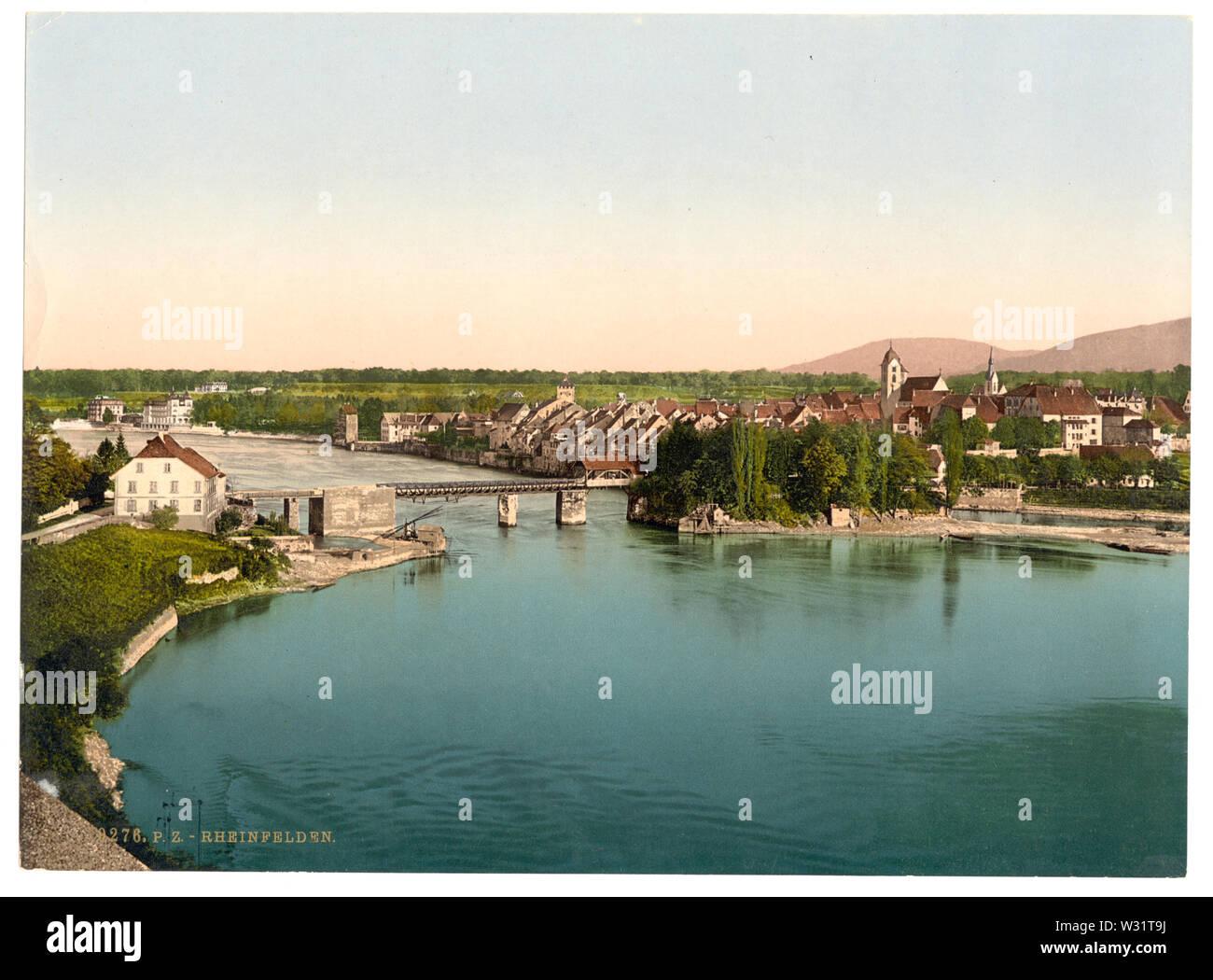 Rheinfelden, Canton of Aargau, Switzerland and Rheinfelden (Baden), Germany, River RhineDeutsch: Rheinfelden, Aargau, Schweiz und Rheinfelsen (Baden), Deutschland, Rhein - Stock Image