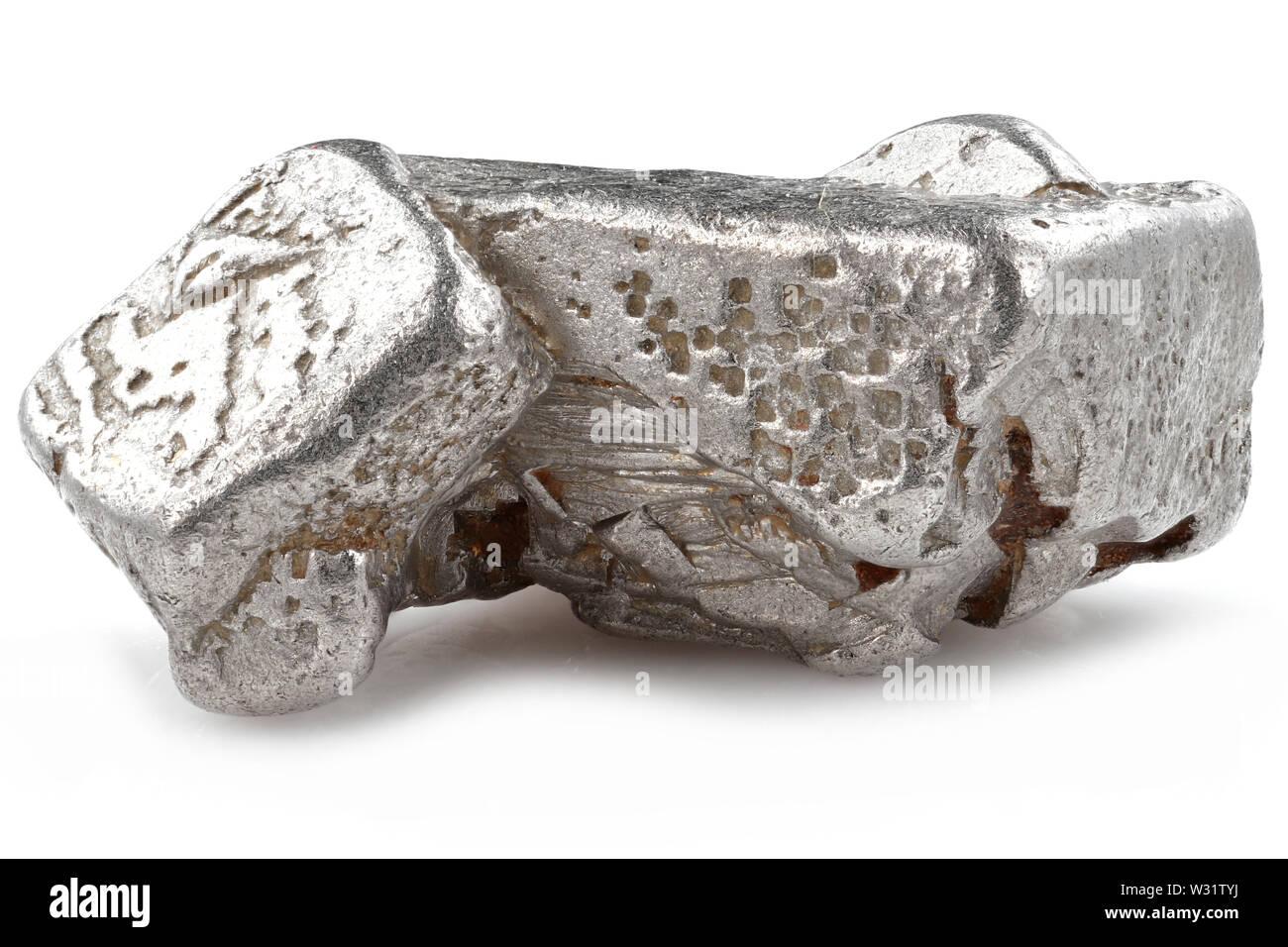 native 2.5 gram platinum nugget from the Kondyor Massif, Khabarovsk Krai, Russia isolated on white background - Stock Image