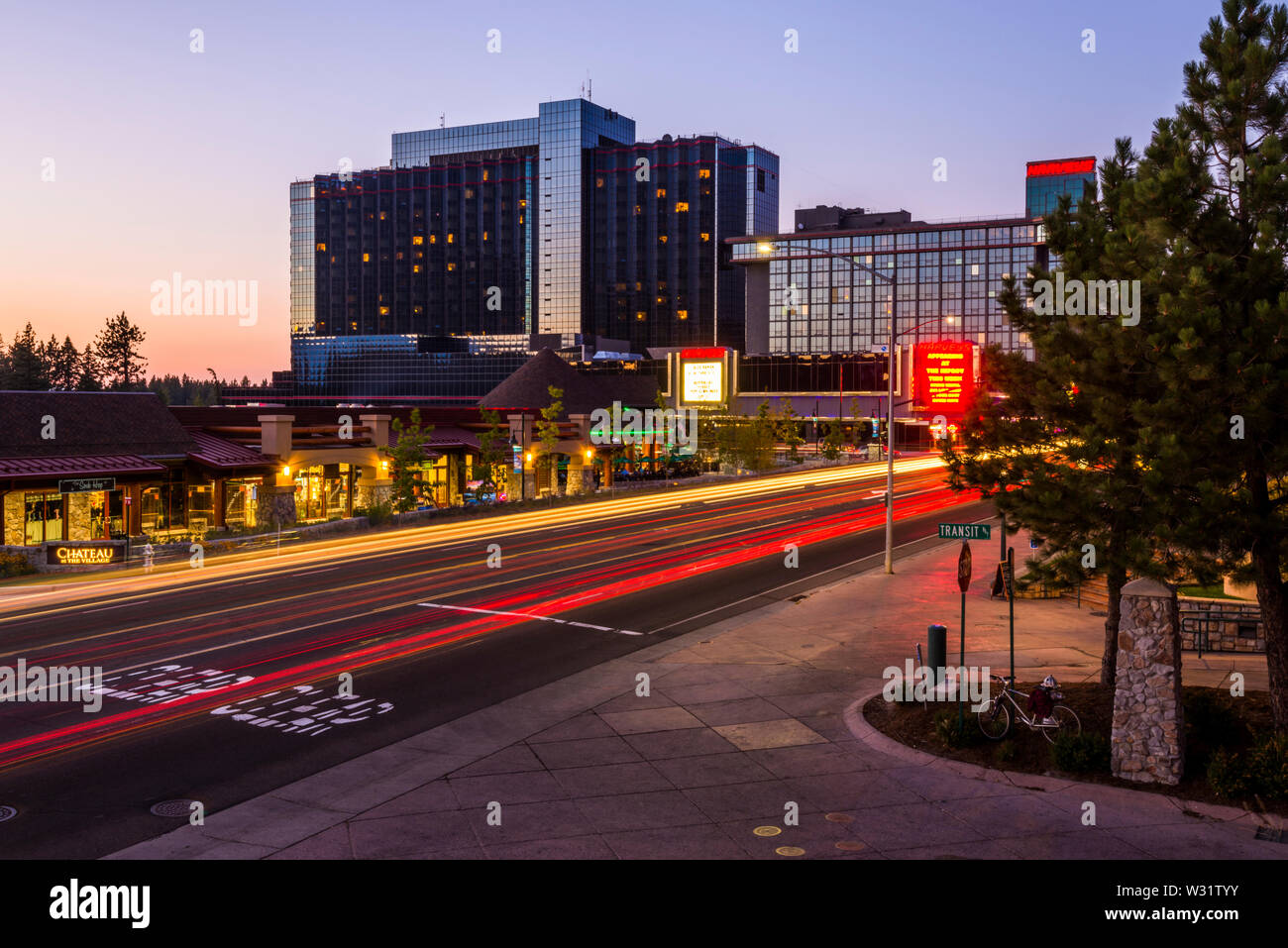 A view at dusk of Stateline, Nevada of Harvey's Casino as seen from the Califonia side from the Heavenly Village, California. Stock Photo