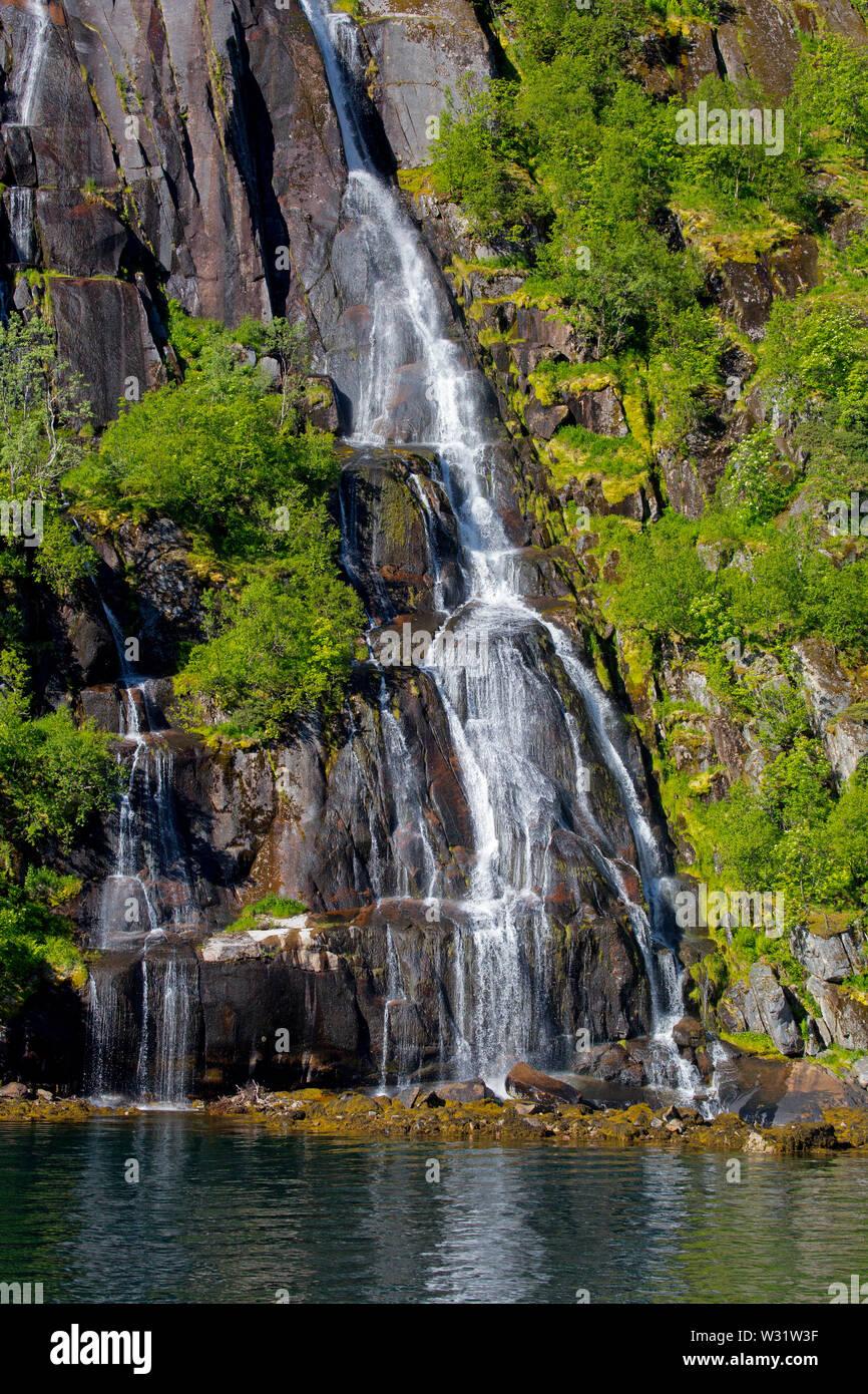 waterfall, Trollfjord, Norway - Stock Image
