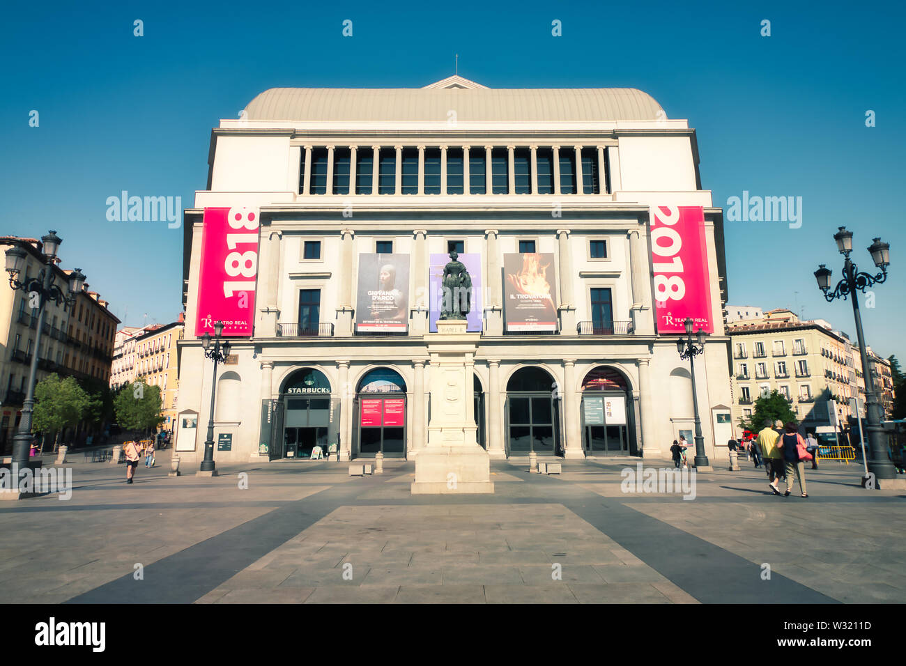Madrid, Spain - June 21, 2019: Teatro Real (Royal Theatre) or simply El Real, as it is known colloquially, is a major opera house located in Madrid. Stock Photo