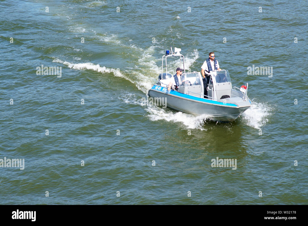 Frankfurt, Germany - July 06, 2019: The top view of a police boat on patrol on the River Main on July 06, 2019 in Frankfurt. Stock Photo