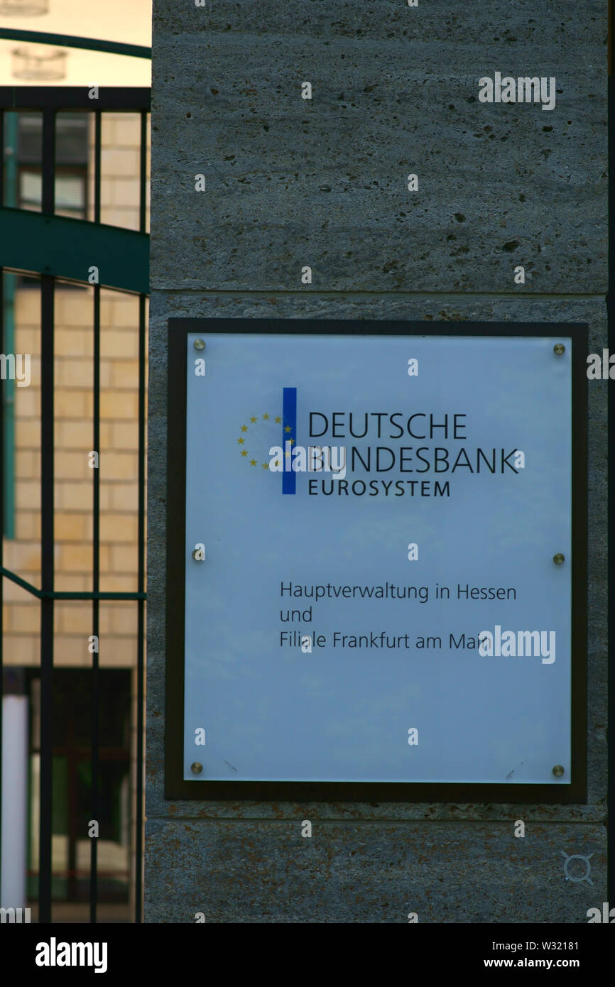 Frankfurt, Germany - July 06, 2019: The entrance sign of the Deutsche Bundesbank, a financial institution and head office in Hesse on 06 July 2019 in - Stock Image