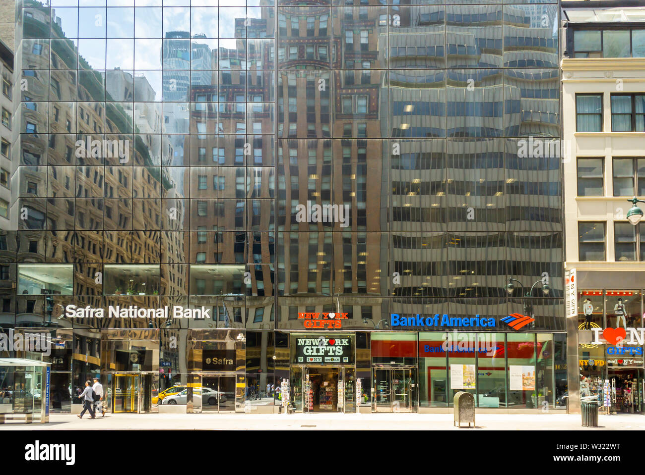 A Bank of America branch almost next to a Safra National Bank branch in Midtown Manhattan in New York on Sunday, July 7, 2019. (© Richard B. Levine) - Stock Image
