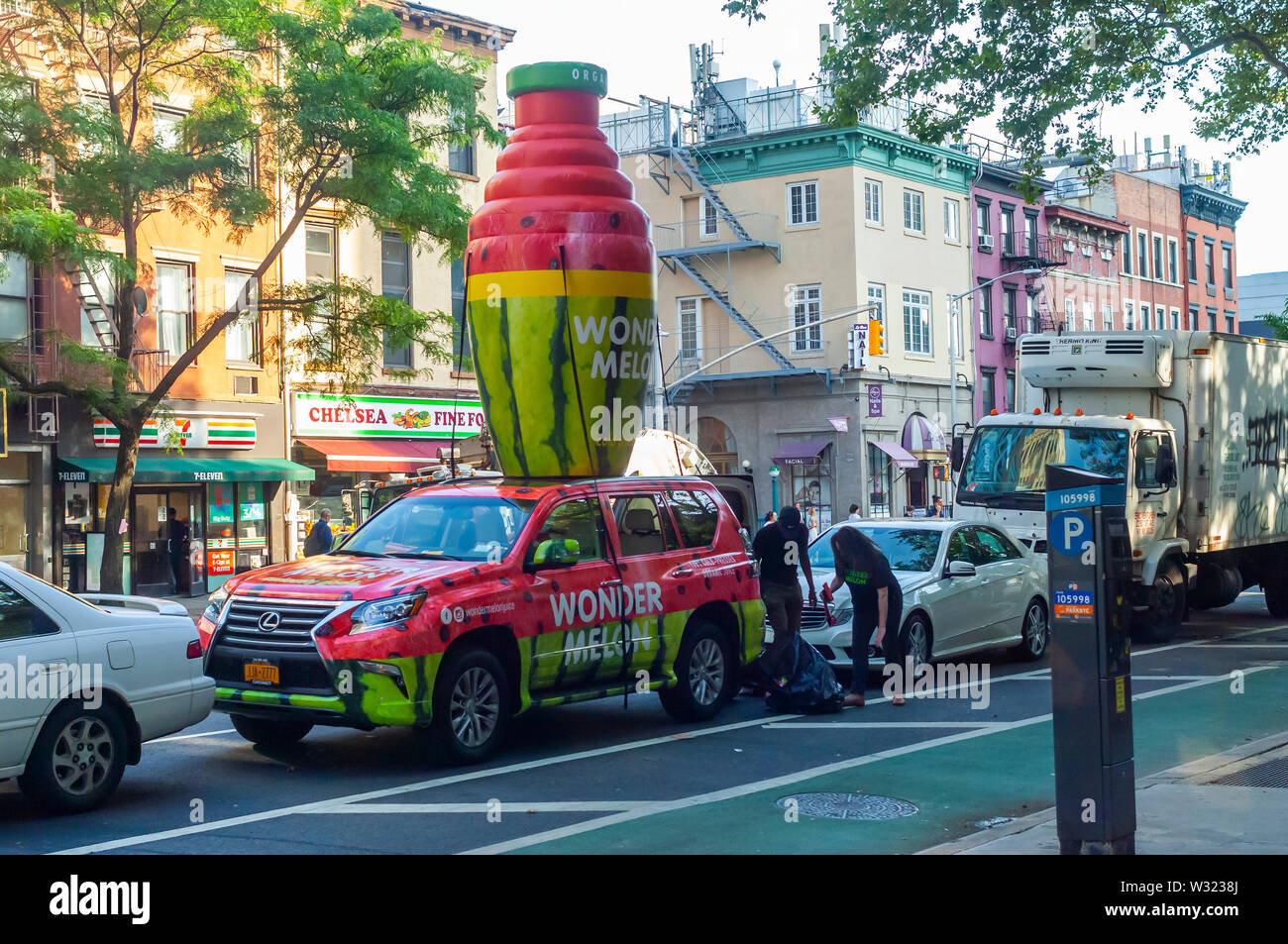 A vehicle in a promotional event for Wonder Melon, watermelon juice, in the Chelsea neighborhood of New York on Tuesday, July 9, 2019.  (© Richard B. Levine) - Stock Image