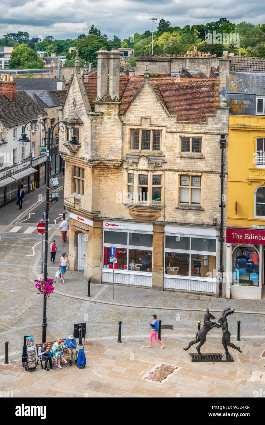 Cirencester, Gloucestershire. The new pedestrian layout of Cirencester Marketplace as seen from St John the Baptist Church roof. Stock Photo
