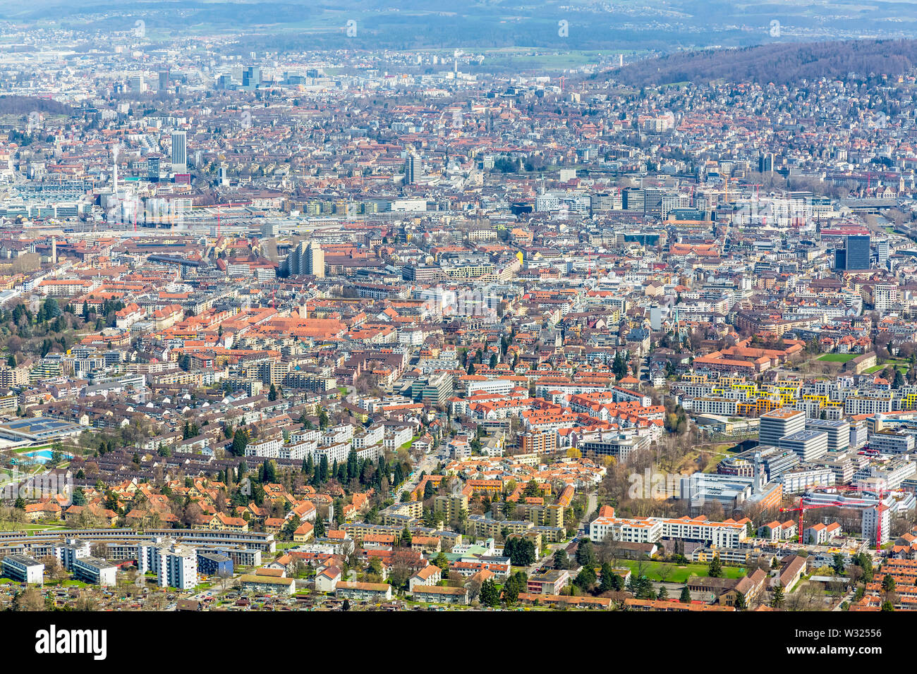 Panorama view of city of Zurich from the Uetliberg mountain Stock Photo