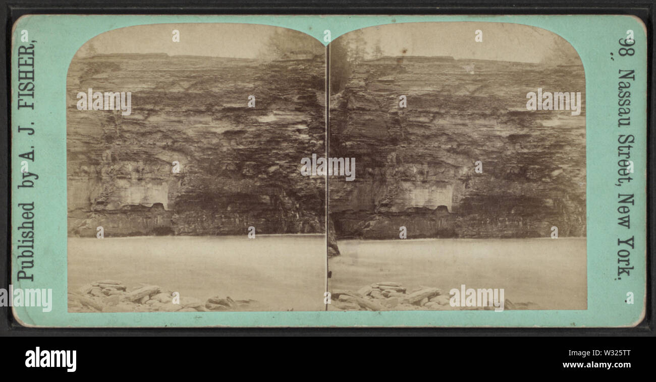 Sculptured Rocks, Portage, NY, by Fisher, A J (Albert J), 1842-1882 - Stock Image