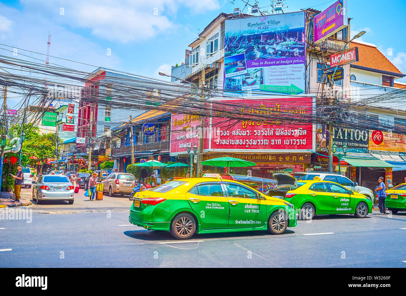 BANGKOK, THAILAND - APRIL 22, 2019: The Banglamphu is one of the most popular tourist district in the city and the best place to relax in numerous caf - Stock Image