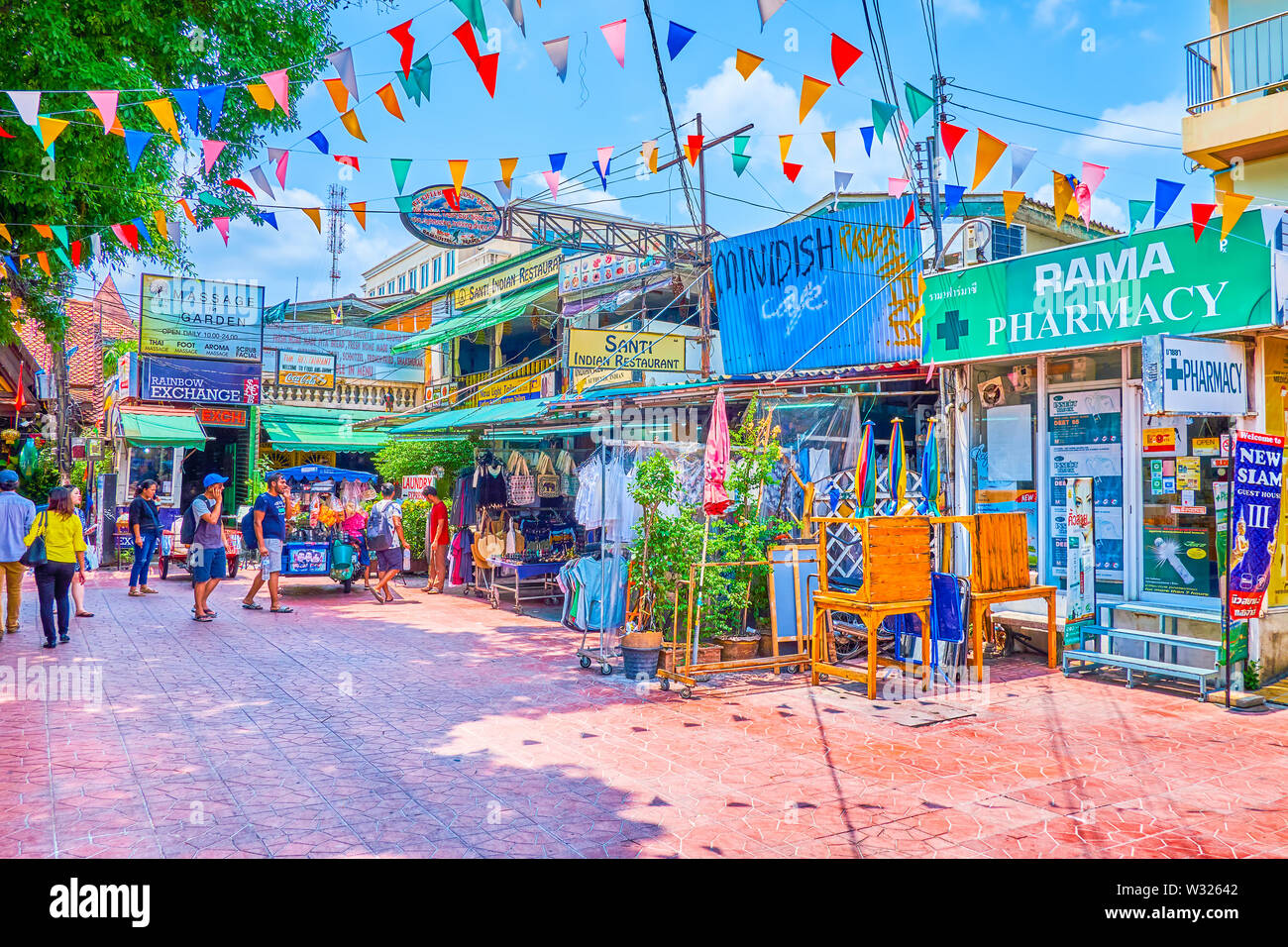 BANGKOK, THAILAND - APRIL 22, 2019: The tourist pedestrian Ram Buttri street offers all needed goods and services for comfortable living in the city, - Stock Image