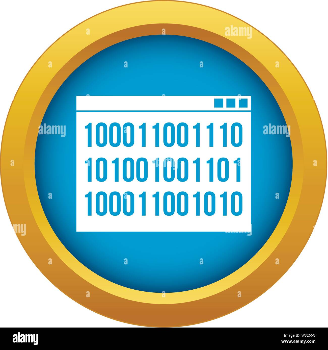 Binary code icon blue vector isolated - Stock Image
