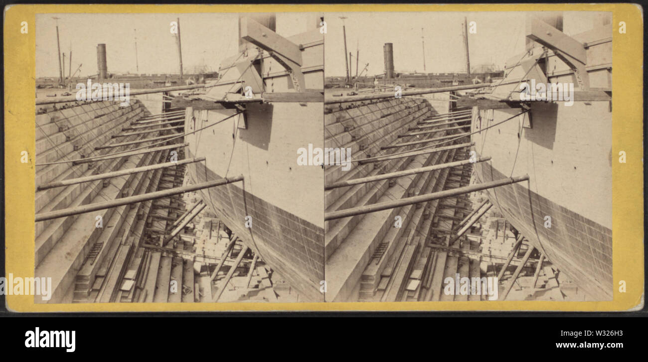 Sectional view, UD Dry Dock, from Robert N Dennis collection of stereoscopic views 3 - Stock Image