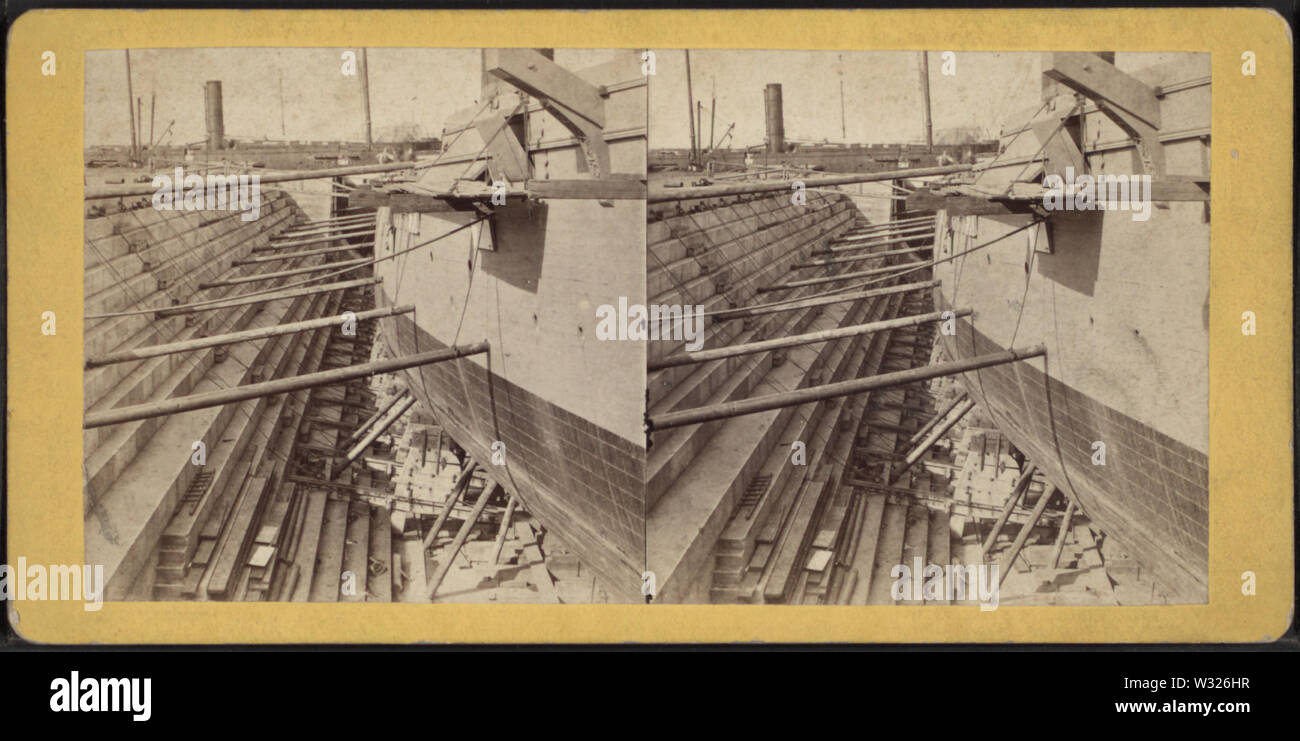 Sectional view, UD Dry Dock, from Robert N Dennis collection of stereoscopic views - Stock Image