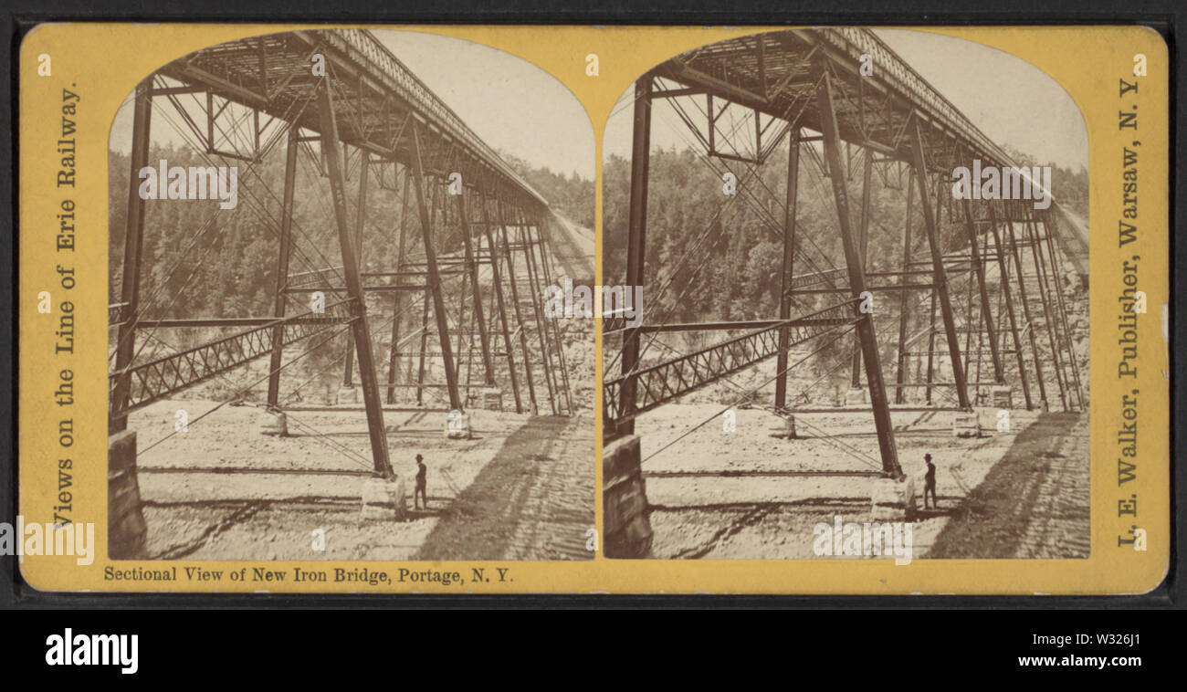 Sectional view of New Iron Bridge, Portage, NY, by Walker, L E, 1826-1916 - Stock Image