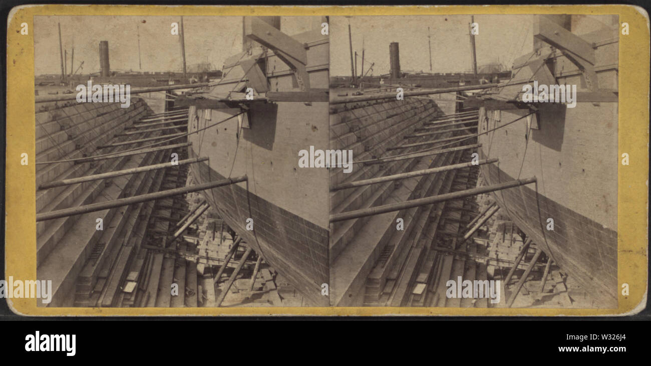 Sectional view, UD Dry Dock, from Robert N Dennis collection of stereoscopic views 2 - Stock Image