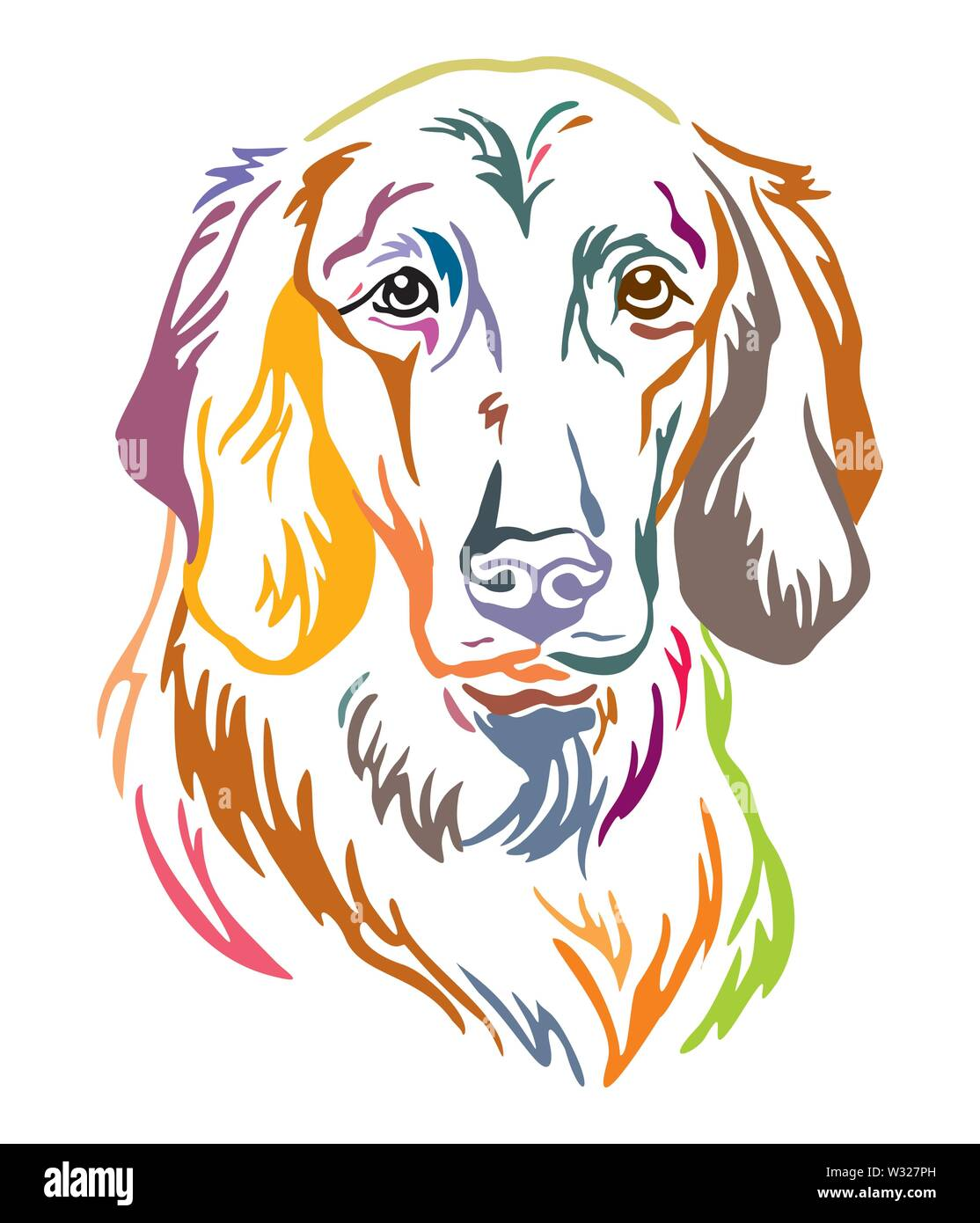 Colorful decorative outline portrait of Longhaired Weimaraner Dog, vector illustration in different colors isolated on white background. Image for des Stock Vector