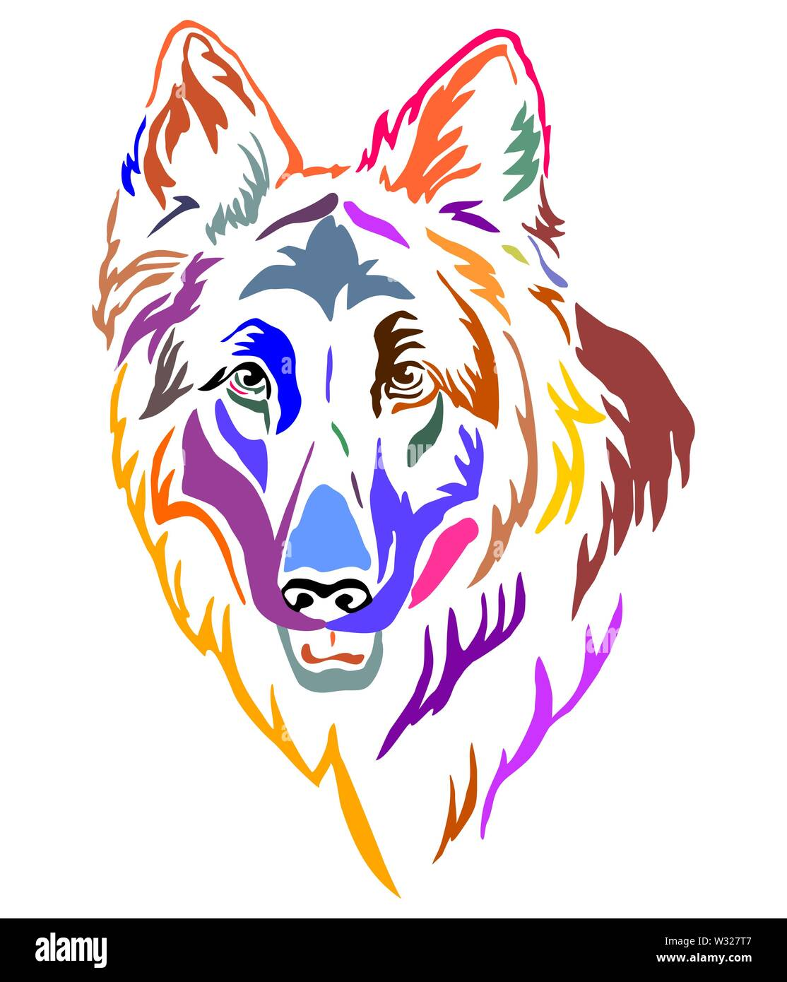 Colorful decorative outline portrait of Longhaired German Shepherd Dog, vector illustration in different colors isolated on white background. Image fo Stock Vector