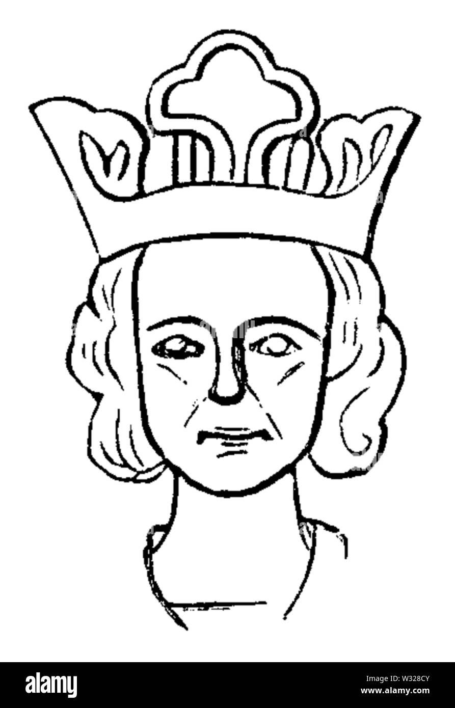 Hans Hildebrand trodde att en valvkonsol i Skara domkyrka föreställde kung Birger Magnusson genom att han gjorde en jämförelse med ett sigillavtryck med ett samtida porträtt av denne kung Birger Magnusson, den bild som visas här. Valvkonsolen med en huvudskulptur föreställer troligen istället hans farbror kung Valdemar Birgersson enligt senare forskare, medan hans far Magnus Ladulås är avbildad på en annan valvkonsol som hertig (alltså blev han avbildad innan han lyckades ta över tronen från sin bror). Stock Photo
