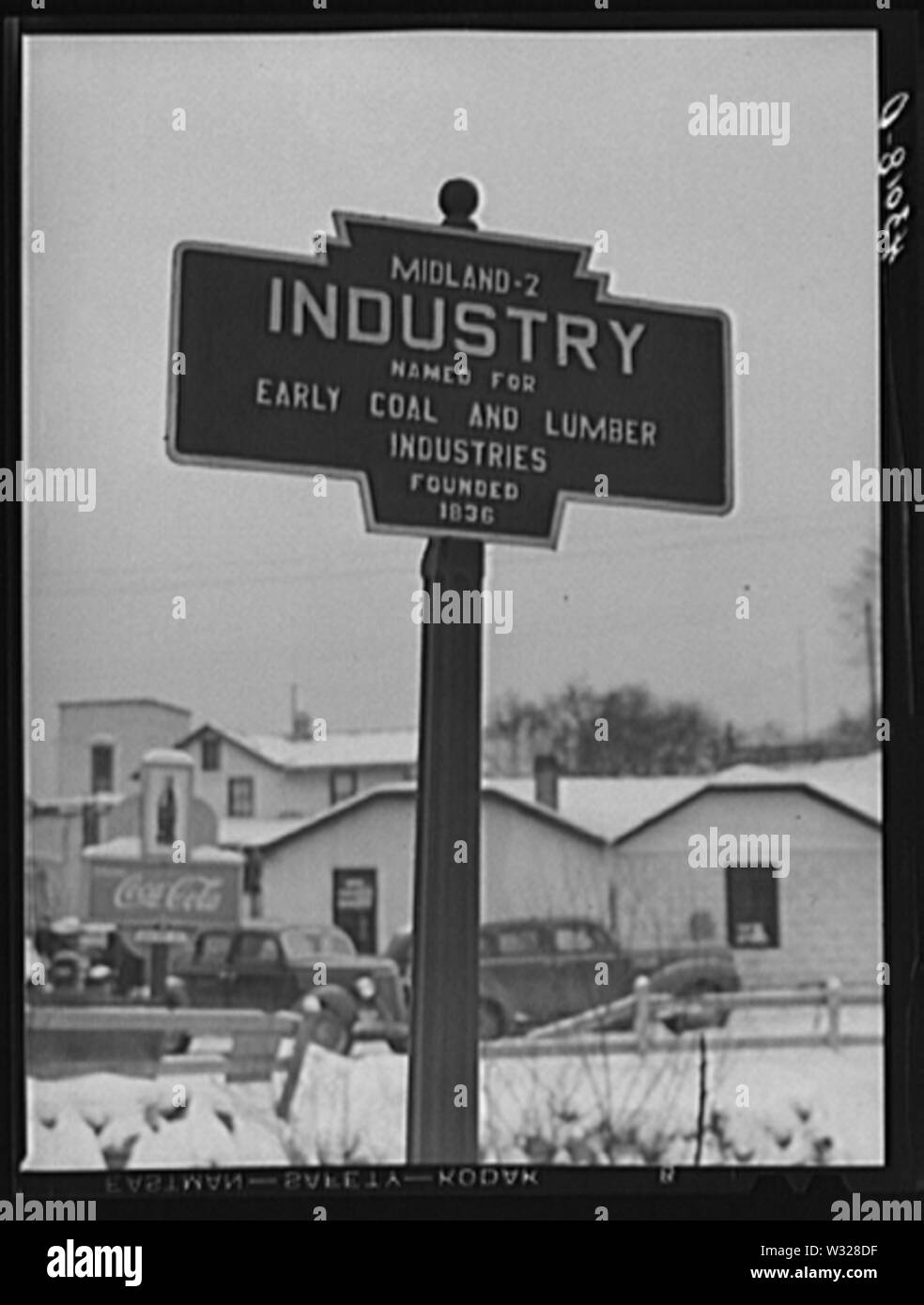 Date 1940 Jan Title Signpost at Industry, Pennsylvania Notes  Title and other information from caption card. LOT 1347 (Location of corresponding print). Transfer; United States. Office of War Information. Overseas Picture Division. Washington Division; 1944. More information about the FSA/OWI Collection is available at - Stock Image