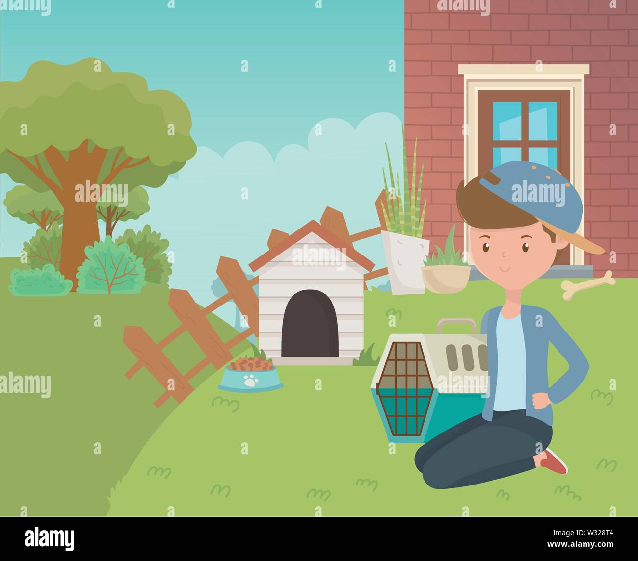 House and boy cartoon design, Mascot pet domestic animal friendship care and lifestyle theme Vector illustration - Stock Image