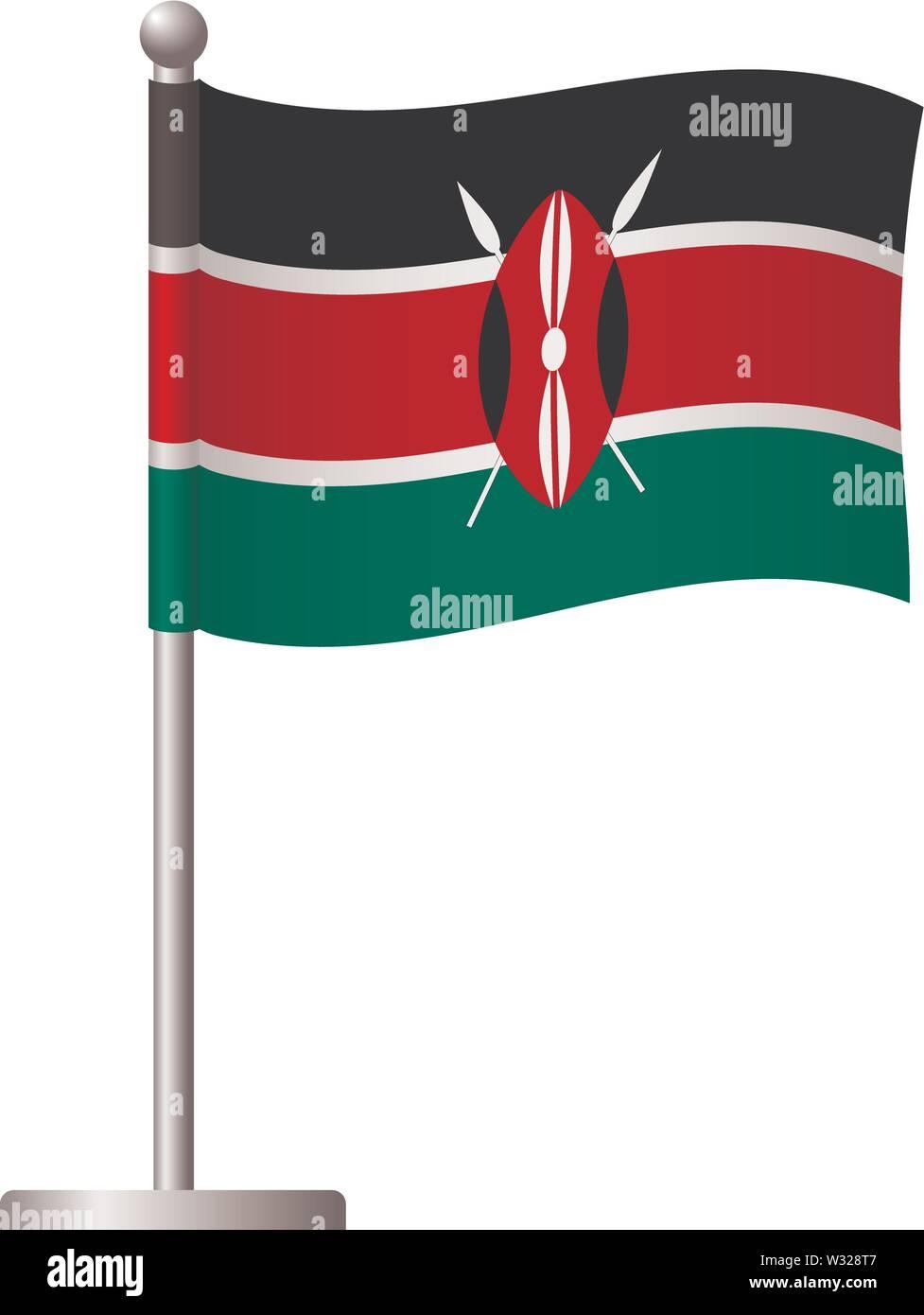Kenya flag on pole. Metal flagpole. National flag of Kenya vector illustration Stock Vector