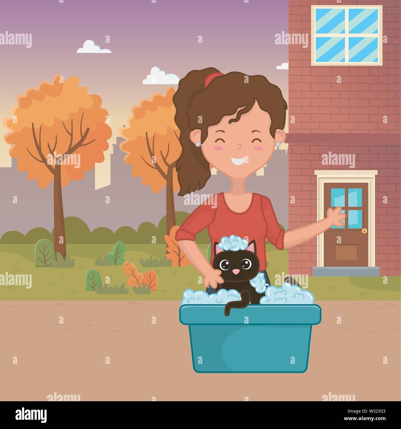 Girl with cat cartoon design, Mascot pet animal domestic cute life nature and fauna theme Vector illustration - Stock Image