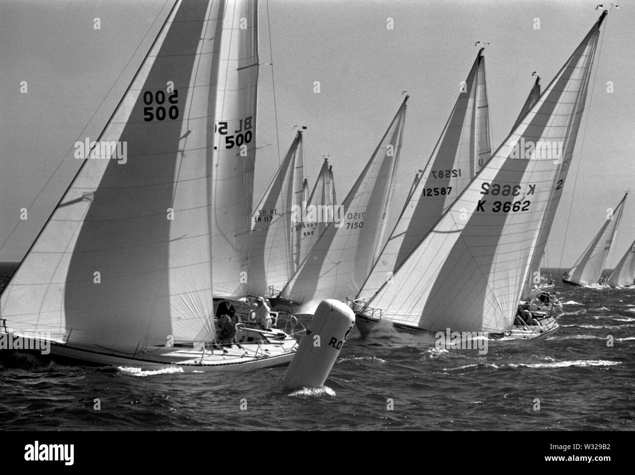 AJAXNETPHOTO. JULY, 1974. TORBAY, ENGLAND. - ONE TON CUP WORLDS - FLEET STARTS 1ST RACE.PHOTO:JONATHAN EASTLAND/AJAX REF:7420718A - Stock Image