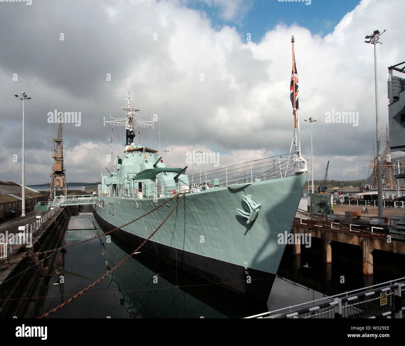AJAXNETPHOTO. 3RD APRIL, 2019. CHATHAM, ENGLAND. - WWII DESTROYER 75TH ANNIVERSARY - HMS CAVALIER, WORLD WAR II C CLASS DESTROYER PRESERVED AFLOAT IN NR 2 DOCK AT THE CHATHAM HISTORIC DOCKYARD. 