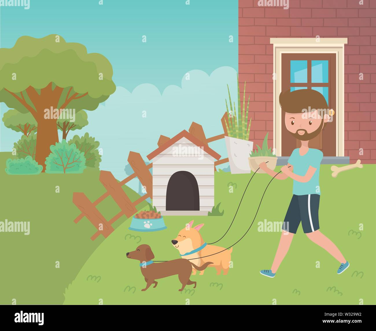 Boy with dogs cartoons design, Mascot pet animal nature cute and puppy theme Vector illustration - Stock Image