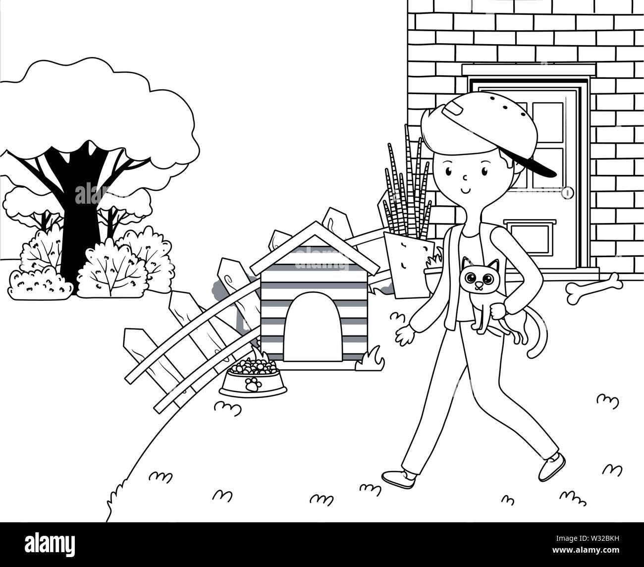 Boy with cat cartoon design, Mascot pet animal domestic cute life nature and fauna theme Vector illustration - Stock Image