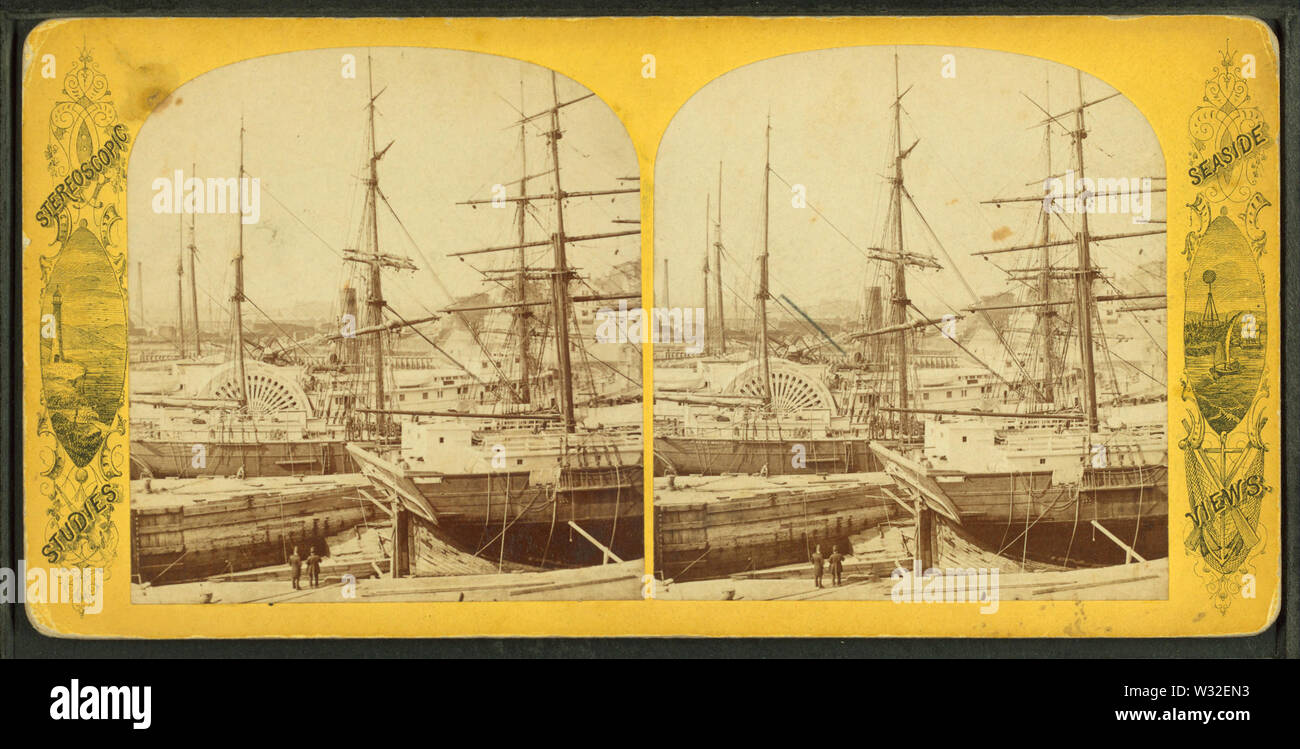 Steamer Cambridge in dry dock, East Boston, from Robert N Dennis collection of stereoscopic views - Stock Image