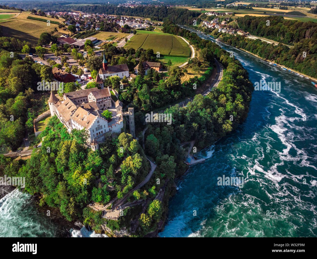 Rhine Falls (Rheinfall) waterfalls with Schloss Laufen castle, Neuhausen near Schaffhausen, Canton Schaffhausen, Switzerland, Europe - Stock Image