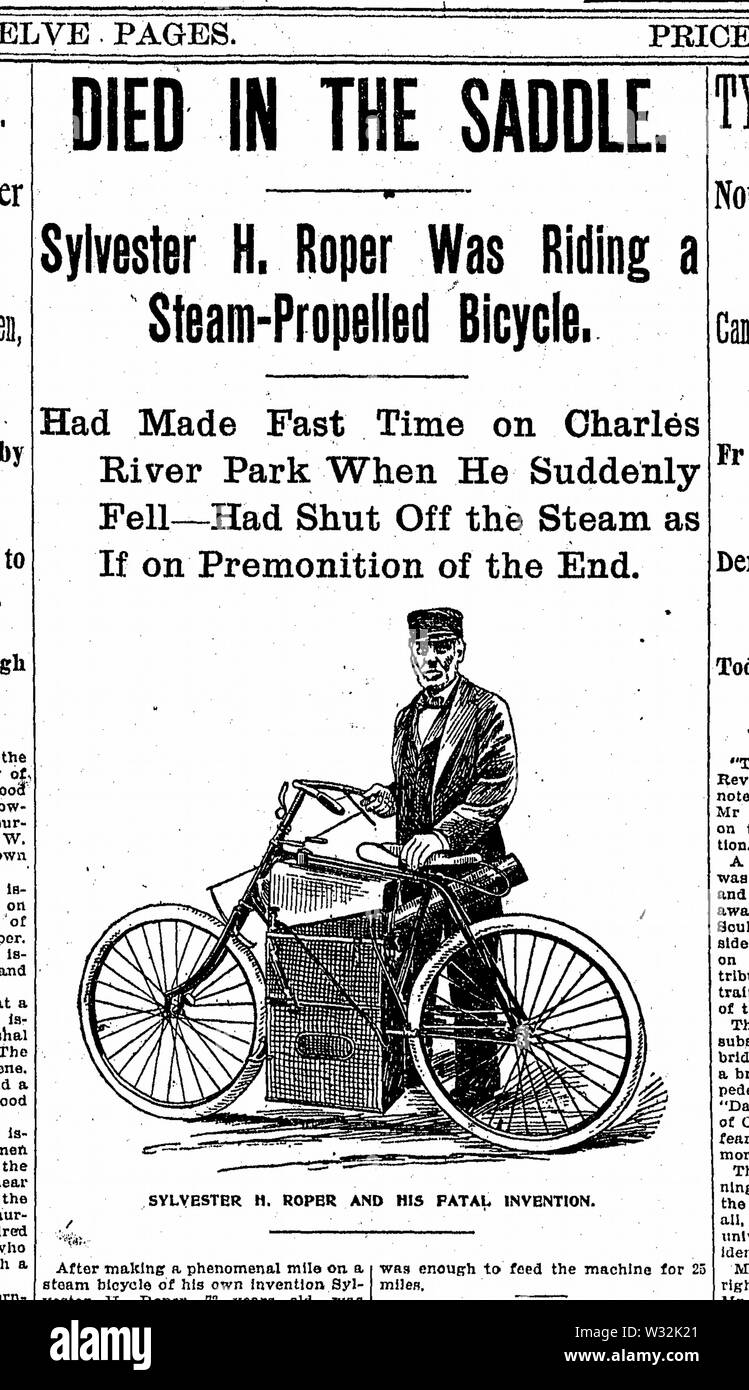 Sylvester H Roper Died in the Saddle Boston Daily Globe 2 June 1896 - Stock Image