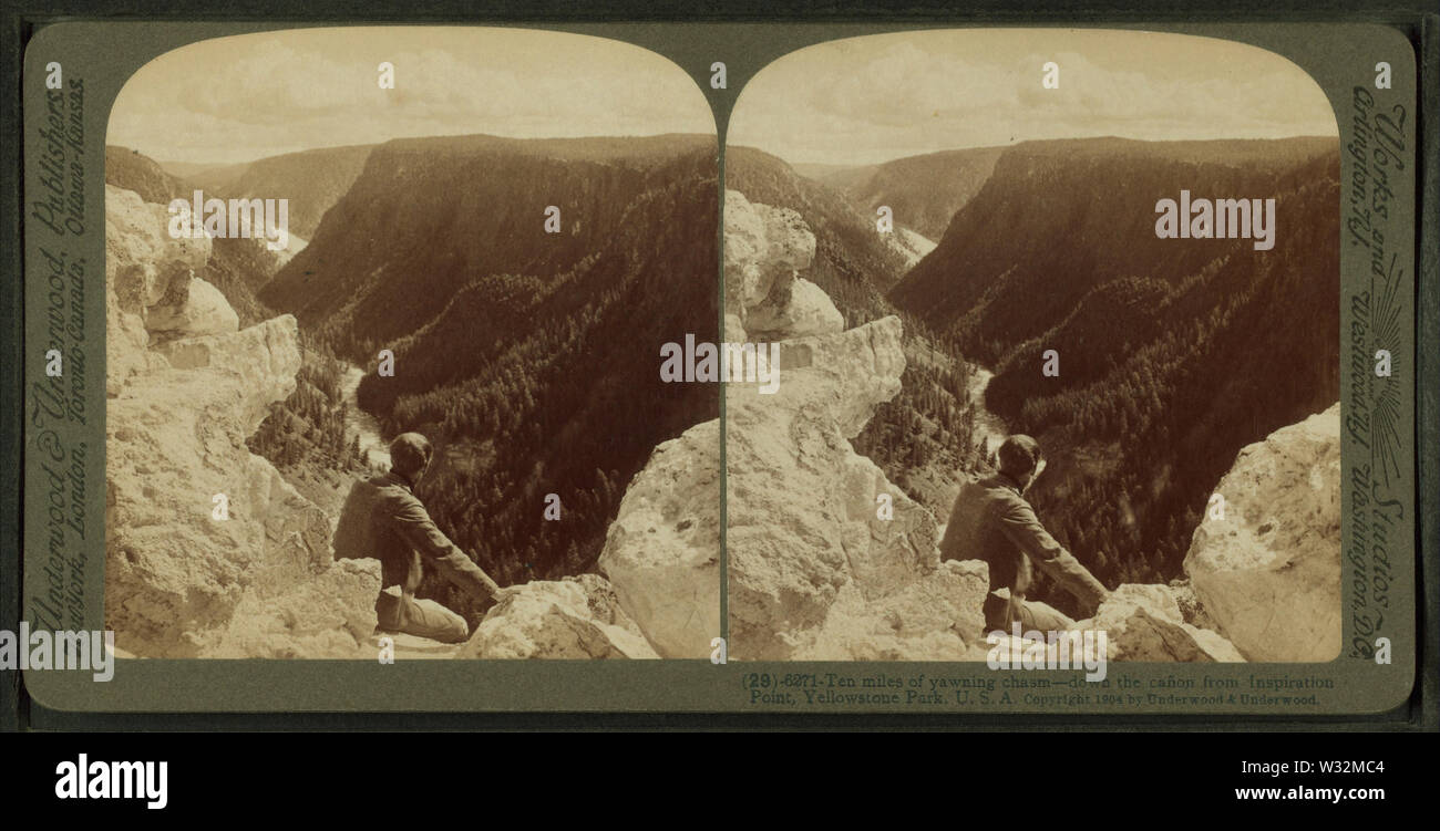 Ten Miles of yawning chasm - down the cañon from Inspiration Point, Yellowstone Park, USA, by Underwood & Underwood 3 - Stock Image