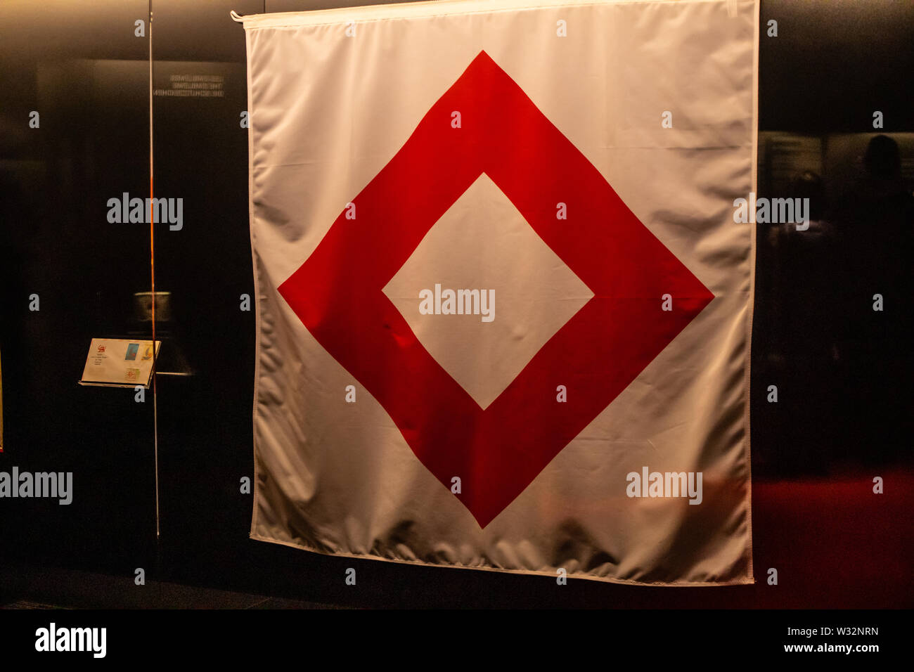 Geneva, Switzerland, March 2019, exhibition, exposition on display - International Red Cross and Red Crescent Museum in Geneva Stock Photo