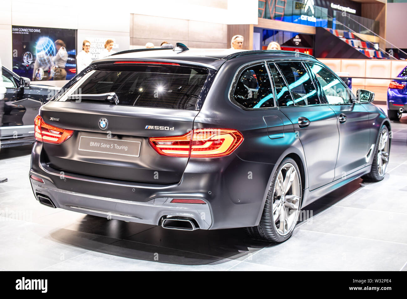 Geneva Switzerland March 2019 Black Bmw 5 Series Touring M550d Geneva International Motor Show 5er Station Wagon Manufactured And Marketed By Bmw Stock Photo Alamy
