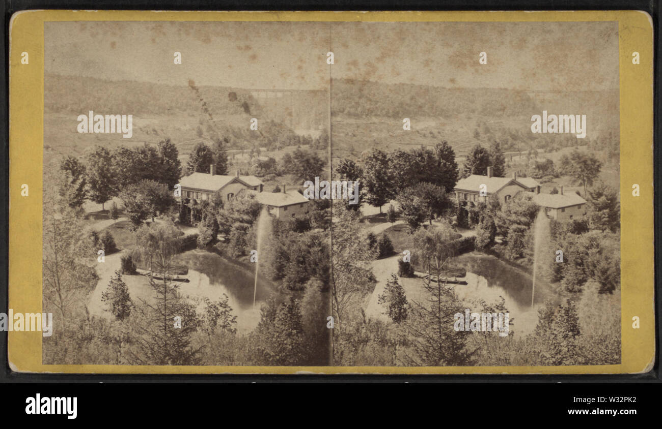 The Country Seat of Wm P Letchworth -- the Horse Shoe Fall and Portage Bridge in the distance, Portage, NY, by E & HT Anthony (Firm) - Stock Image