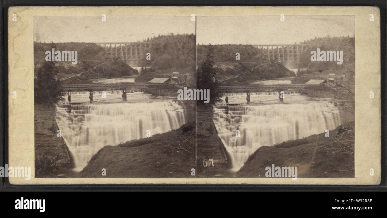 The Falls at Portage, NY, by E & HT Anthony (Firm) - Stock Image