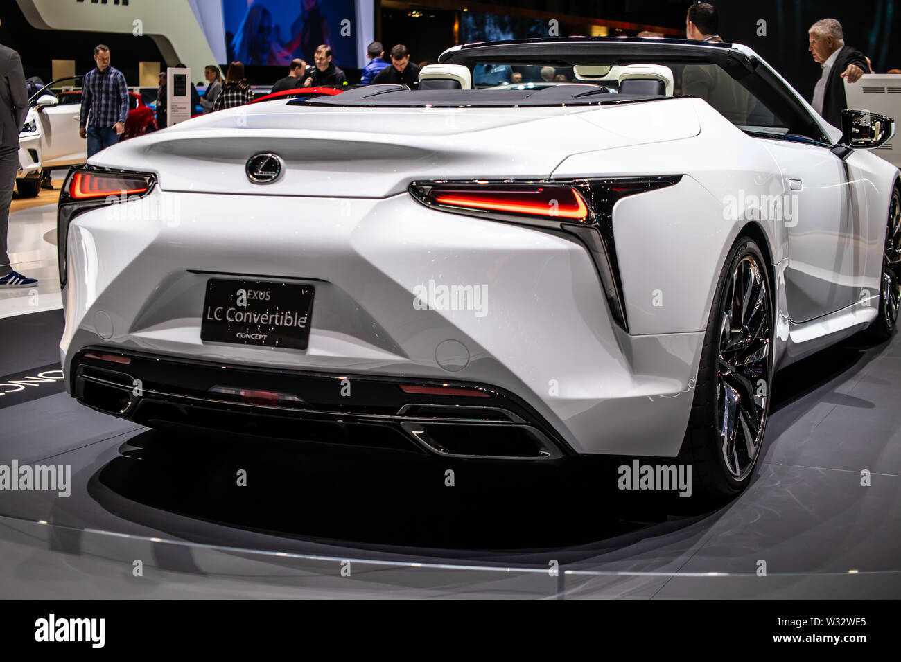 Geneva, Switzerland, March 2019 Lexus LC Convertible Concept Prototype Car, Geneva International Motor Show, produced by Japanese car maker Lexus - Stock Image